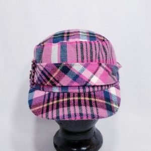D&Y Elastafit Cadet Style Pink Plaid Hat/Cap- NWT